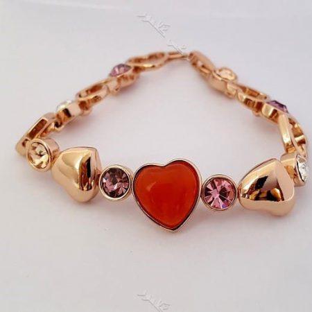 دستبند دخترانه قلبی رزگلد کلیو با کریستالهای سواروفسکی اصل Ds-n166 عکس کلی
