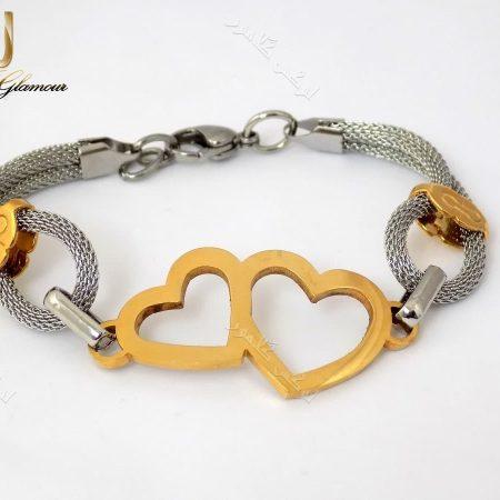 دستبند دخترانه طرح قلب طلایی نقره ای با بدنه استیل Ds-n150 عکس تمام نما از دستبند