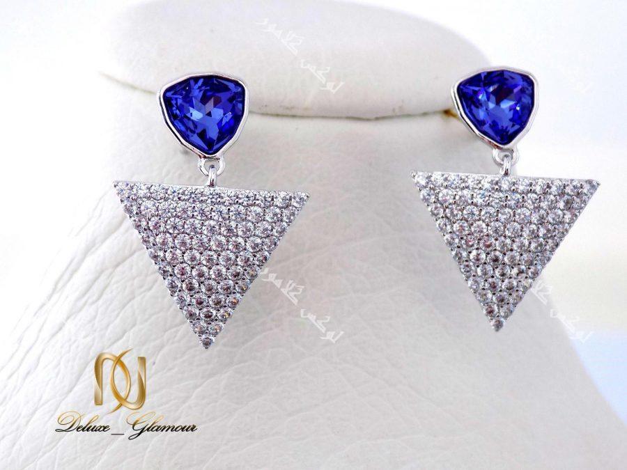 گوشواره دخترانه نگین دار بنفش مثلثی با کریستالهای سواروفسکی Er-n117