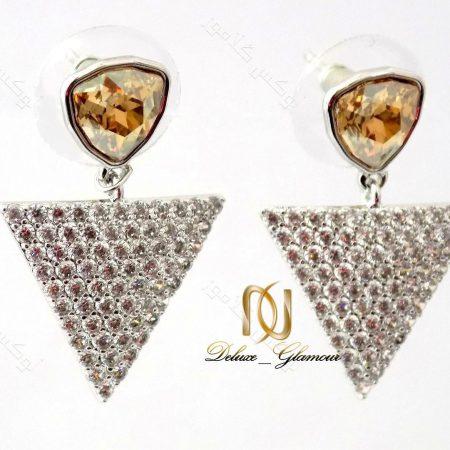 گوشواره دخترانه نگین دار شامپاینی مثلثی با کریستالهای سواروفسکی Er-n116 نمای بغل