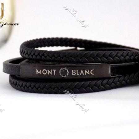 دستبند اسپرت چهار ردیفه چرم طبیعی مونت بلانک طرح بافت و ساده DS-n155 عکس از دستبند مشکی