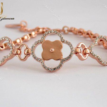 دستبند اسپرت دخترانه رزگلد طرح گل کلیو با کریستالهای سواروفسکی اصلDs-n152