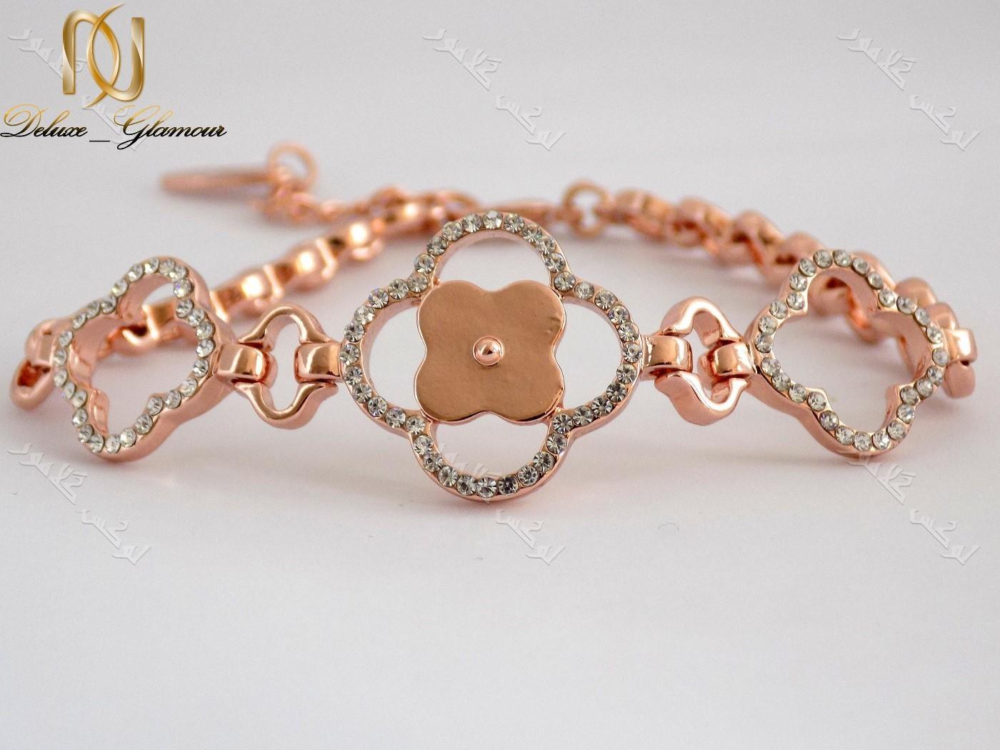 دستبند اسپرت دخترانه رزگلد طرح گل کلیو با کریستالهای سواروفسکی اصلDs-n152 عکس اصلی دستبند