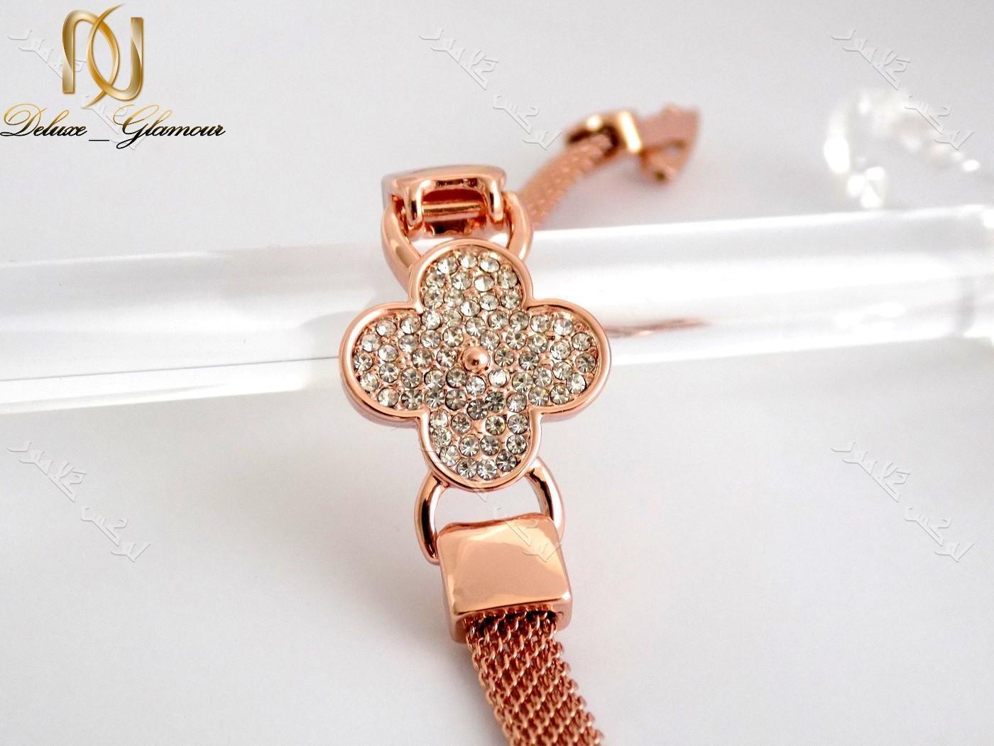 دستبند دخترانه ظریف رزگلد طرح گل کلیو با کریستالهای سواروفسکی اصلDs-n151 عکس طولی از دستبند