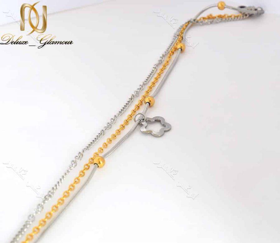 پابند دخترانه استیل طلایی نقره ای سه ردیفه با آویز طرح شکوفه Se-n104 عکس کلی