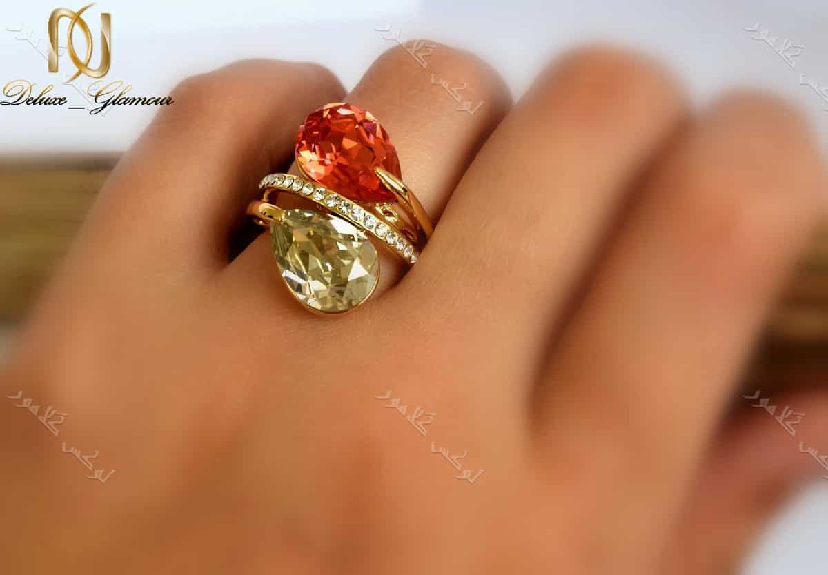 انگشتر دخترانه طلایی طرح اشک کلیو با کریستال قرمز سواروفسکی Rg-n143