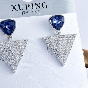 گوشواره دخترانه نگین دار بنفش مثلثی با کریستالهای سواروفسکی Er-n117 روی بسته بندی