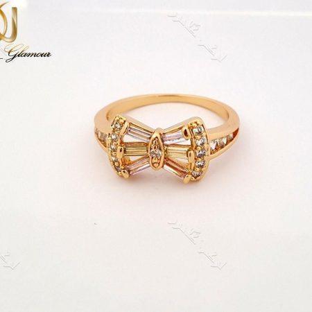 انگشتر ظریف دخترانه طلایی ژوپینگ با کریستالهای رنگی طرح پاپیون Rg-n133 عکس اصلی