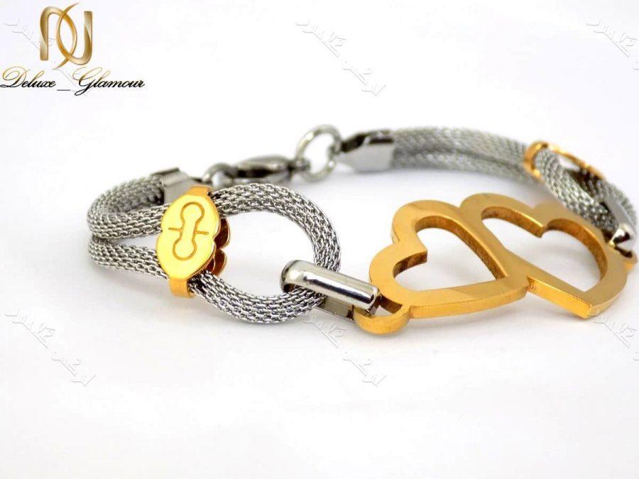 دستبند دخترانه طرح قلب طلایی نقره ای با بدنه استیل Ds-n150