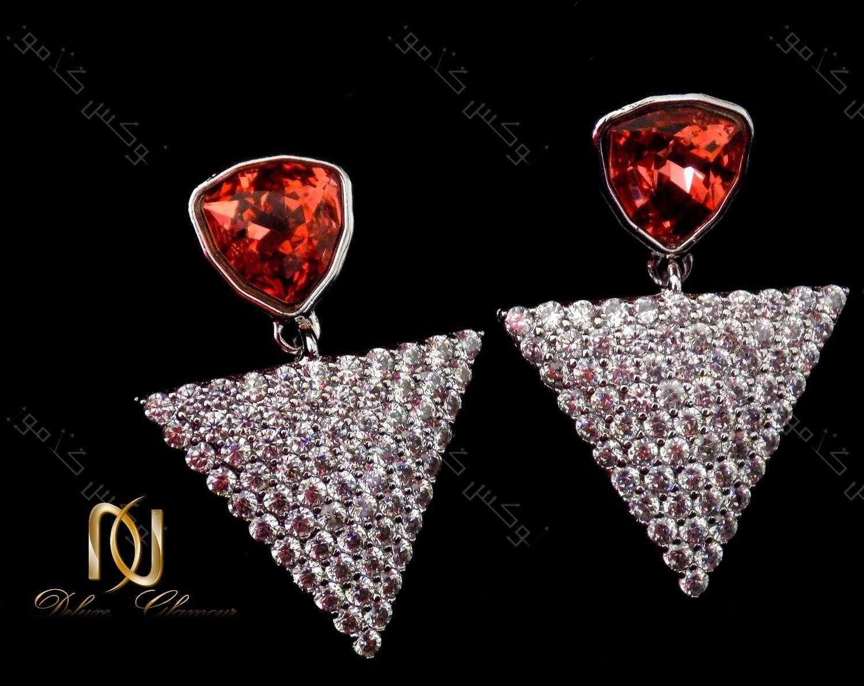 گوشواره دخترانه نگین دار طرح مثلث با کریستالهای سواروفسکی اصل Er-n115 درخشش کریستالها