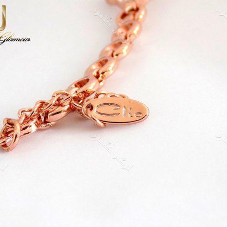 دستبند اسپرت دخترانه رزگلد طرح گل کلیو با کریستالهای سواروفسکی اصلDs-n152 عکس از پلاک آویز