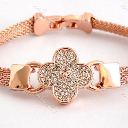دستبند دخترانه ظریف رزگلد طرح گل کلیو با کریستالهای سواروفسکی اصلDs-n151 عکس اصلی دستبند