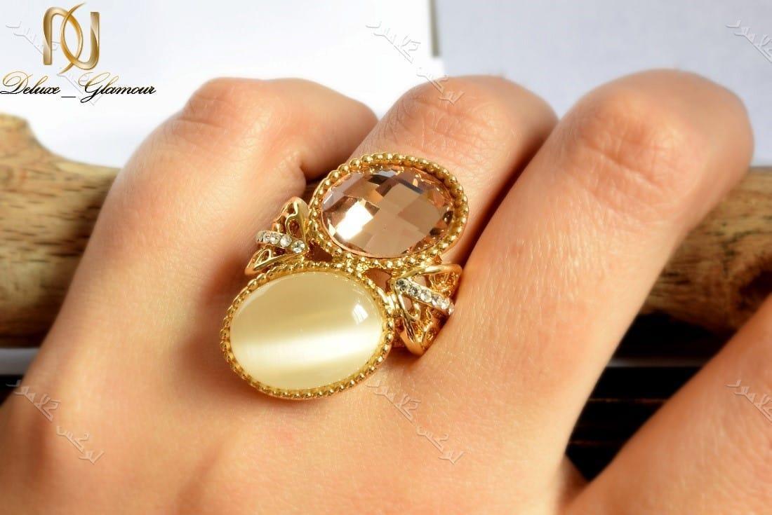 انگشتر دخترانه طلایی با سنگ اپال و کریستال سه بعدی سواروسکی Rg-n132