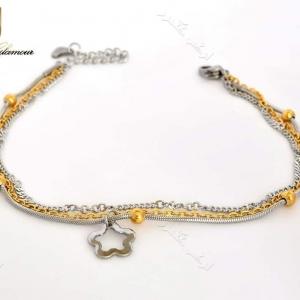 پابند دخترانه استیل طلایی نقره ای سه ردیفه با آویز طرح شکوفه Se-n104 عکس اصلی