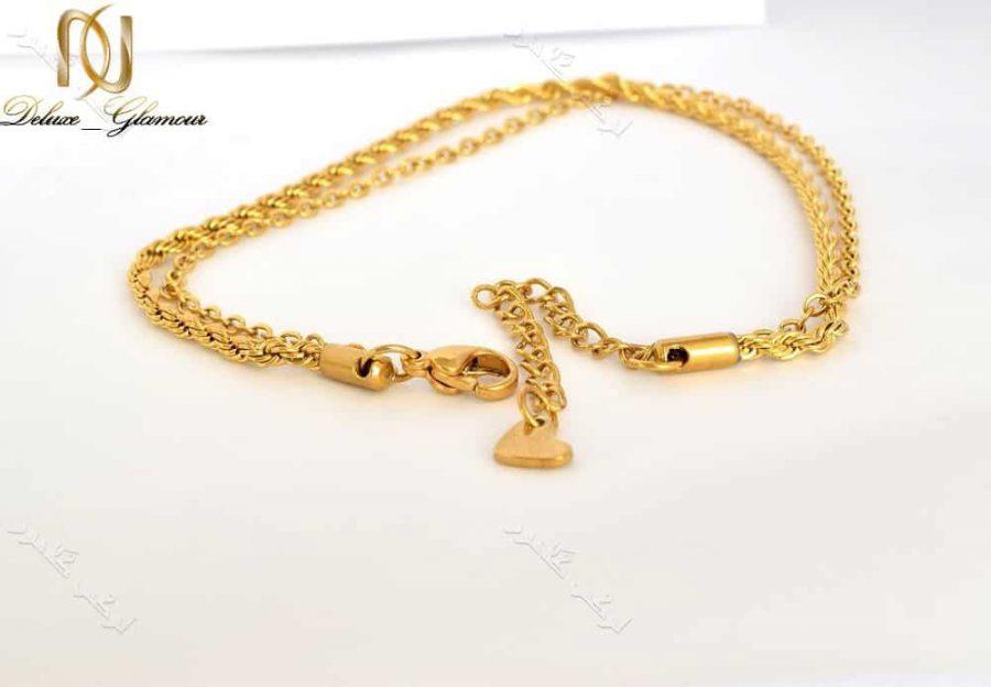 پابند دخترانه استیل دو ردیفه ی طلایی Se-n105 عکس از قفل پابند