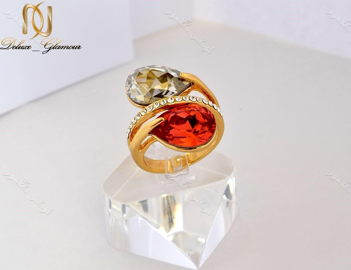 انگشتر دخترانه طلایی طرح اشک کلیو با کریستال قرمز سواروفسکی Rg-n143 عکس اصلی