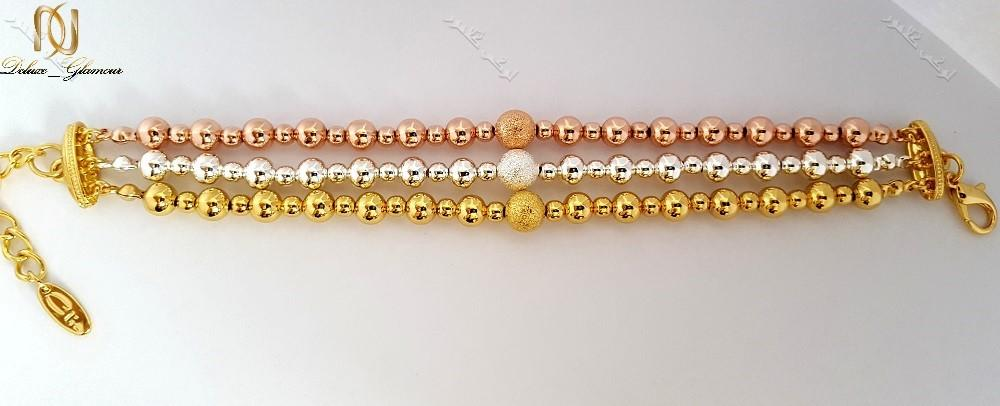 دستبند دخترانه سه ردیفه طرح توپی با سه ردیف رزگلد،طلایی و نقره ای کلیو Ds-n168