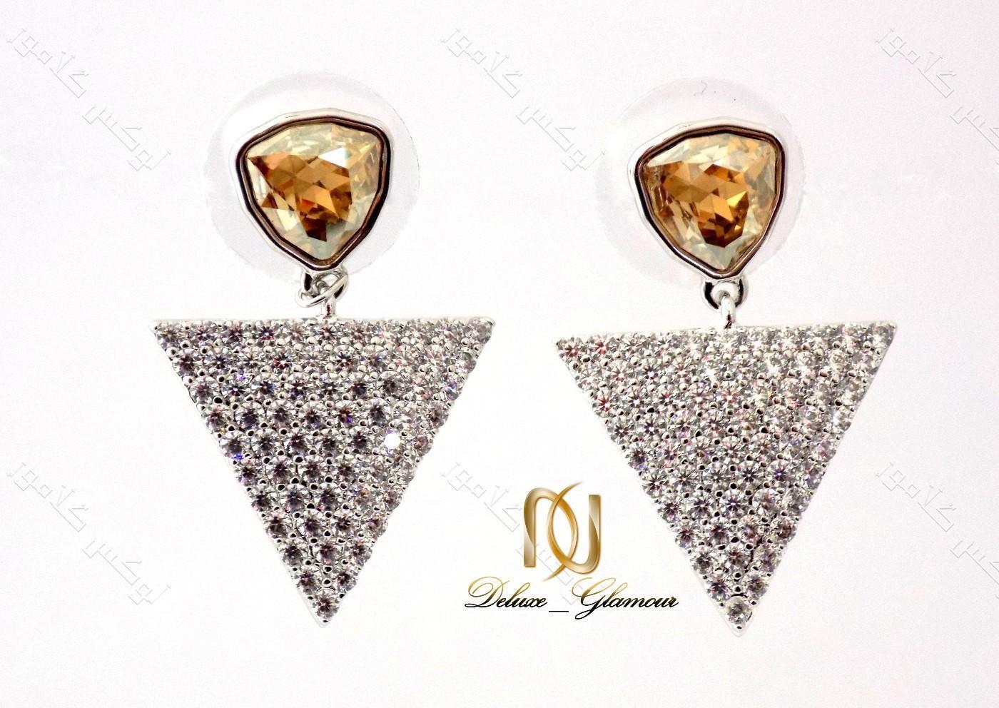 گوشواره دخترانه نگین دار شامپاینی مثلثی با کریستالهای سواروفسکی Er-n116