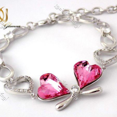 دستبند دخترانه طرح قلب ژوپینگ با کریستال صورتی سواروسکی Ds-n141