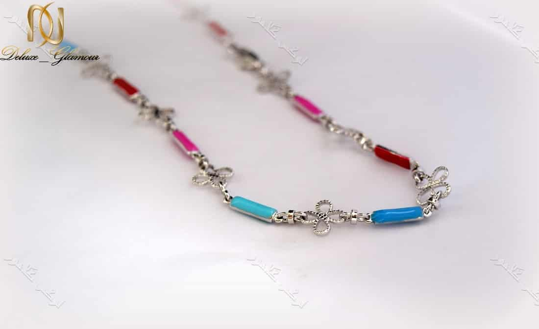 گردنبند دخترانه نقره ای طرح گل ژوپینگ با مهره های لاکی رنگارنگ Nw-n138