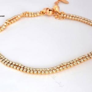 پابند دخترانه استیل طلایی نگین دار با زنگوله آویز Se-n106 عکس اصلی