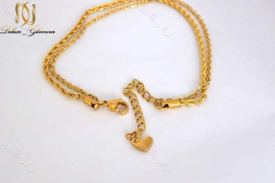 3DSC 0132 | پابند دخترانه استیل دو ردیفه ی طلایی Se-n105
