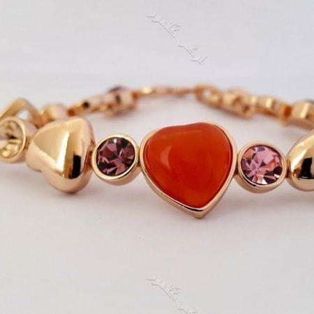 دستبند دخترانه قلبی رزگلد کلیو با کریستالهای سواروفسکی اصل Ds-n166