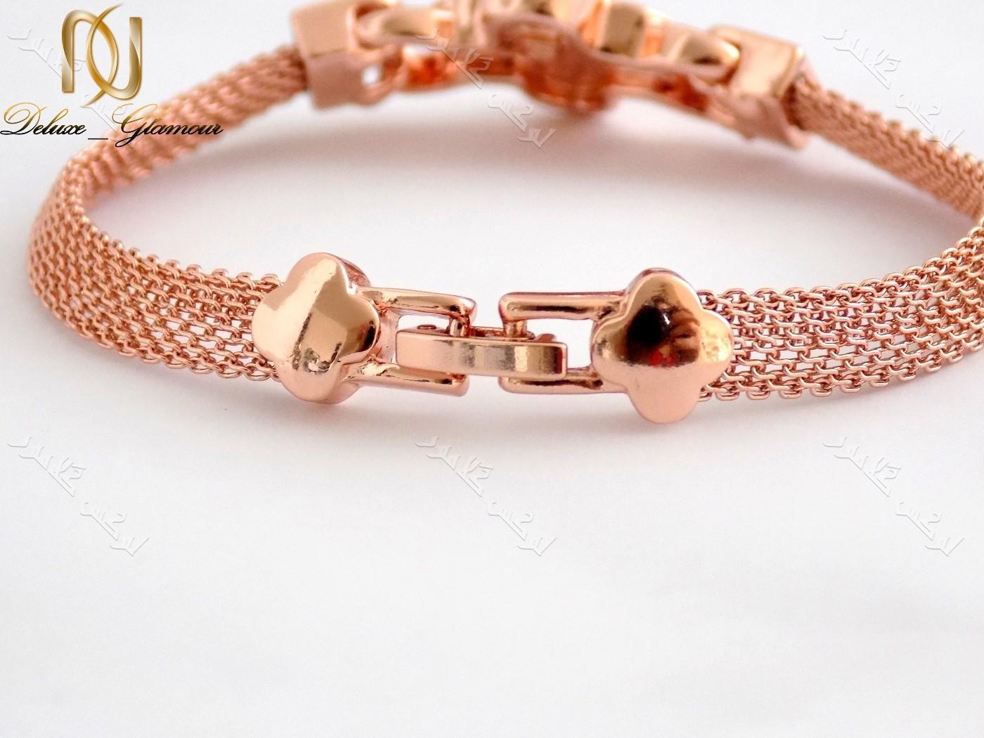 دستبند دخترانه ظریف رزگلد طرح گل کلیو با کریستالهای سواروفسکی اصلDs-n151 عکس قفل دستبند