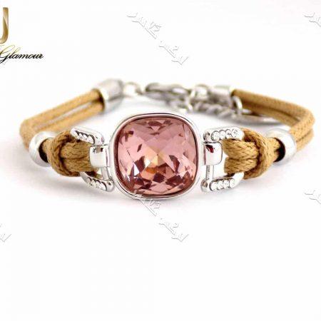 دستبند اسپرت دخترانه کلیو با کریستال سواروفسکی اصل و بند کنفی Ds-n154 عکس اصلی