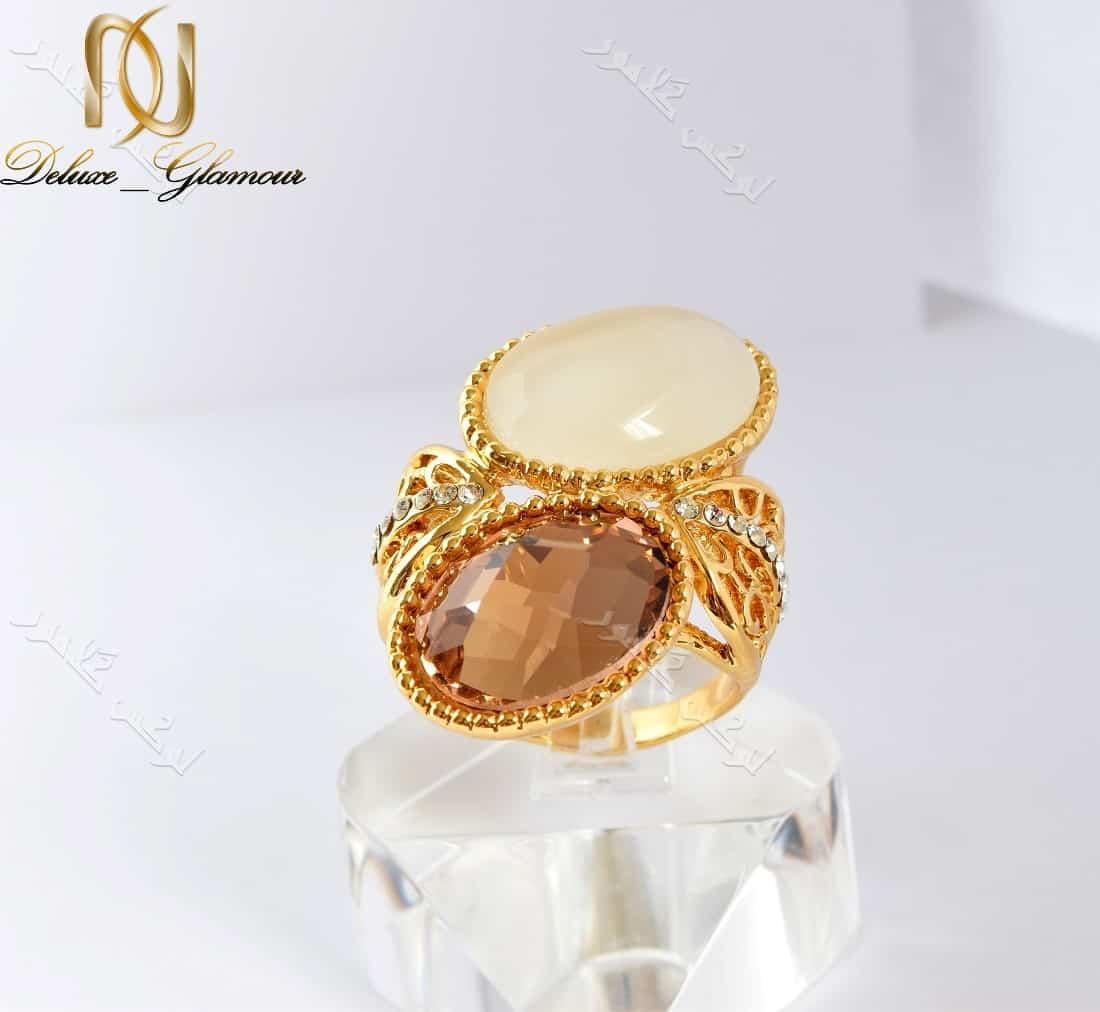 انگشتر دخترانه طلایی با سنگ اپال و کریستال سه بعدی سواروسکی Rg-n132 عکس اصلی