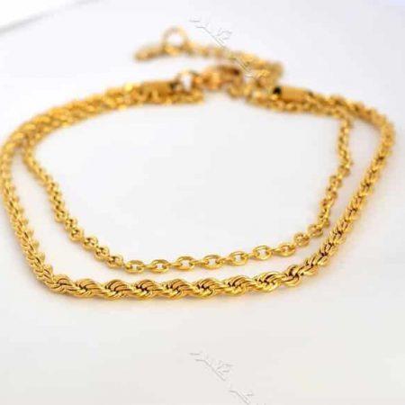 پابند دخترانه استیل دو ردیفه ی طلایی Se-n105 عکس اصلی