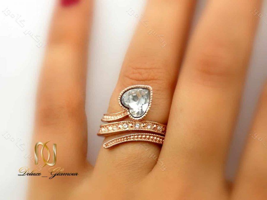 انگشتر دخترانه قلبی رزگلد کلیو طرح ماری با کریستالهای سواروسکی اصل Rg-139