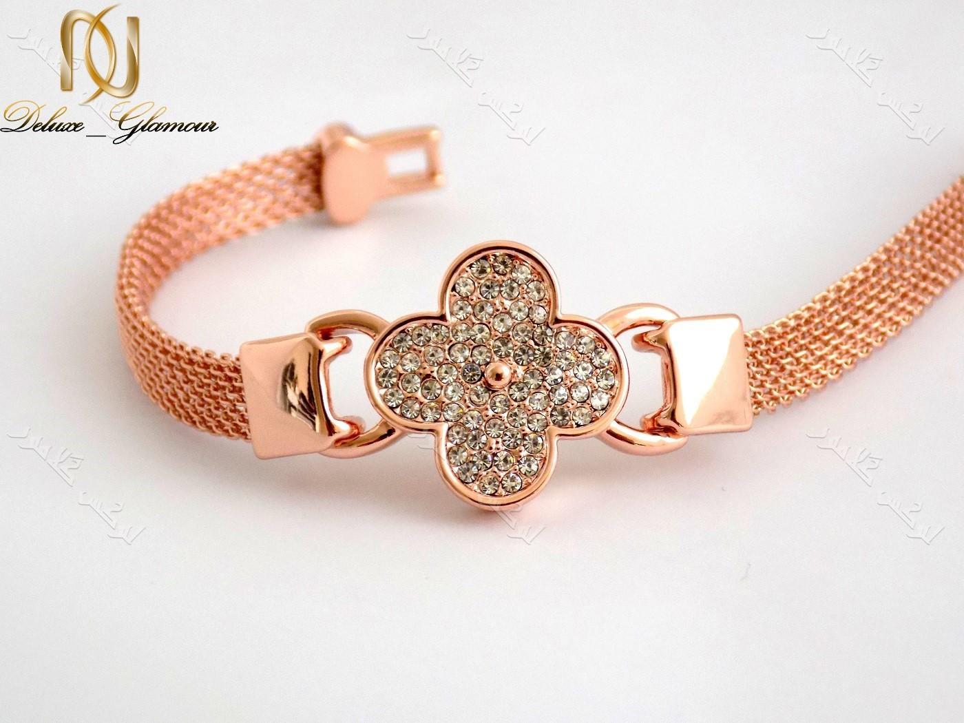 دستبند دخترانه ظریف رزگلد طرح گل کلیو با کریستالهای سواروفسکی اصلDs-n151 عکس از کریستالها