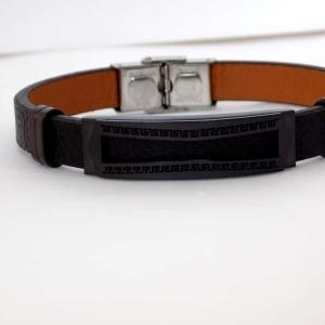 دستبند مردانه چرم و استیل تک ردیفه با پلاک متحرک مشکی ds-n157 عکس اصلی دستبند