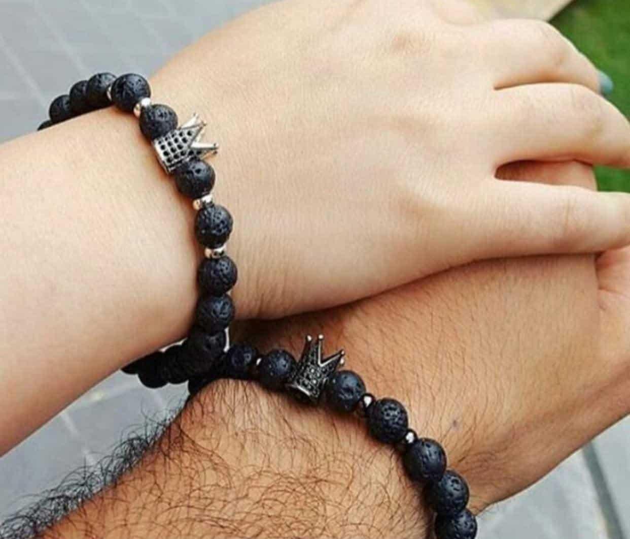 دستبند سنگ لاوا ببا مهره مارکازیت مناسب کادو ولنتاین