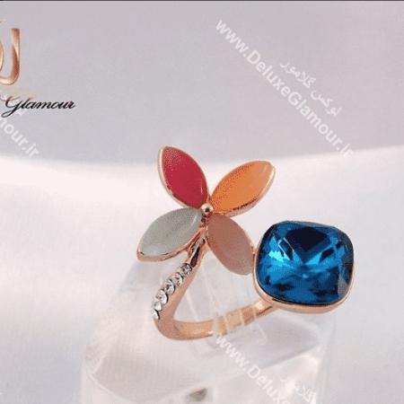 انگشتر دخترانه فانتزی طرح گل کلیو با کریستالهای سواروفسکی اصل Rg-n136
