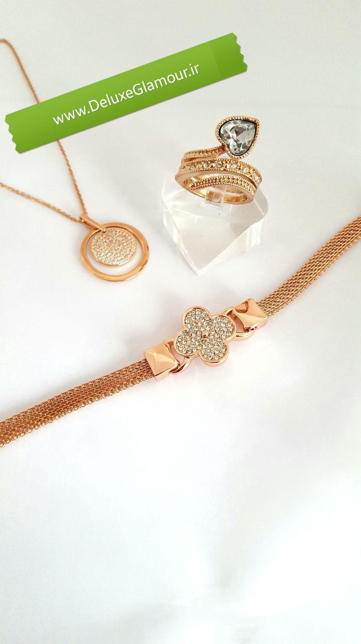 دستبند دخترانه ظریف رزگلد طرح گل کلیو با کریستالهای سواروفسکی اصلDs-n151 عکس از ست های دستبند