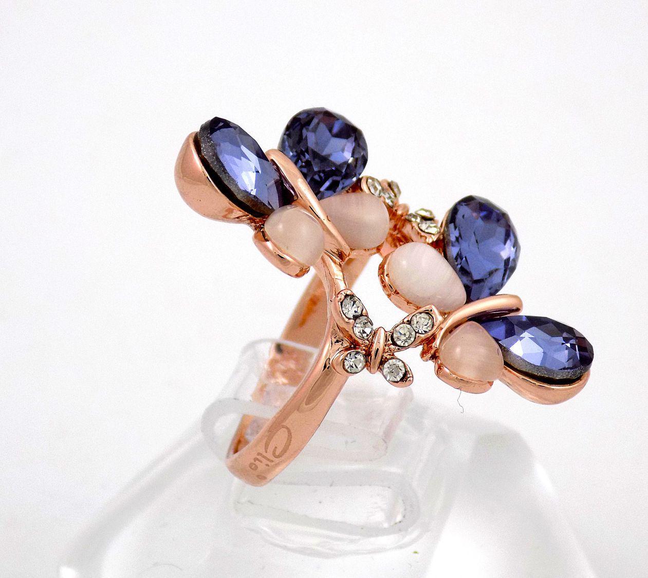 انگشتر جواهری رزگلد کلیو با نگین های بنفش سواروسکی و سنگ اپال Rg-n148