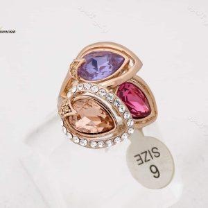 انگشتر جواهری رزگلد کلیو با نگین های سواروسکی اصل rg-n165 از نمای روبرو