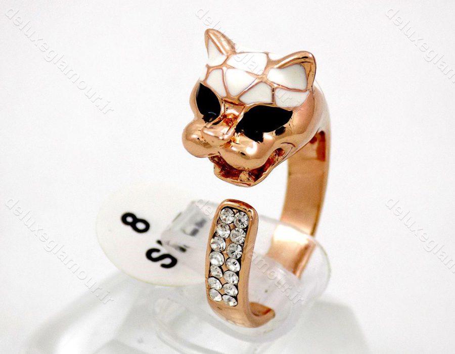 انگشتر دخترانه جواهری رزگلد طرح پلنگ کلیو RG-N157