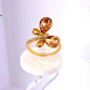 انگشتر دخترانه طلایی طرح پروانه کلیو با کریستال های سواروسکی rg-n026 از کنار