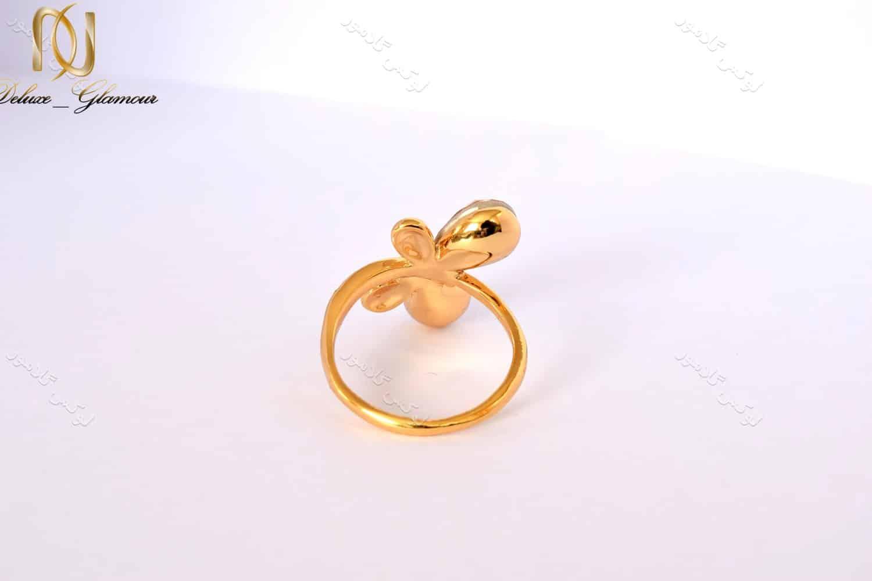 انگشتر دخترانه طلایی طرح پروانه کلیو با کریستال های سواروسکی rg-n026 از پشت