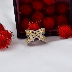 انگشتر دخترانه طلایی و نقره ای کلیو با کریستالهای سواروفسکی Rg-n170 از روبرو