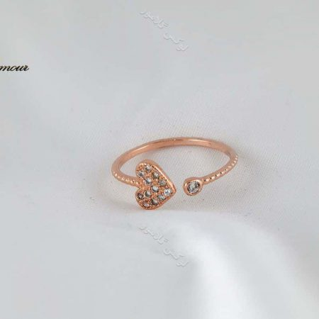 انگشتر بند انگشتی طرح قلب رزگلد کلیو با کریستالهای سواروفسکی Rg-n169 از روبرو
