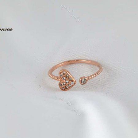 انگشتر بند انگشتی طرح قلب رزگلد کلیو با کریستالهای سواروفسکی Rg-n169