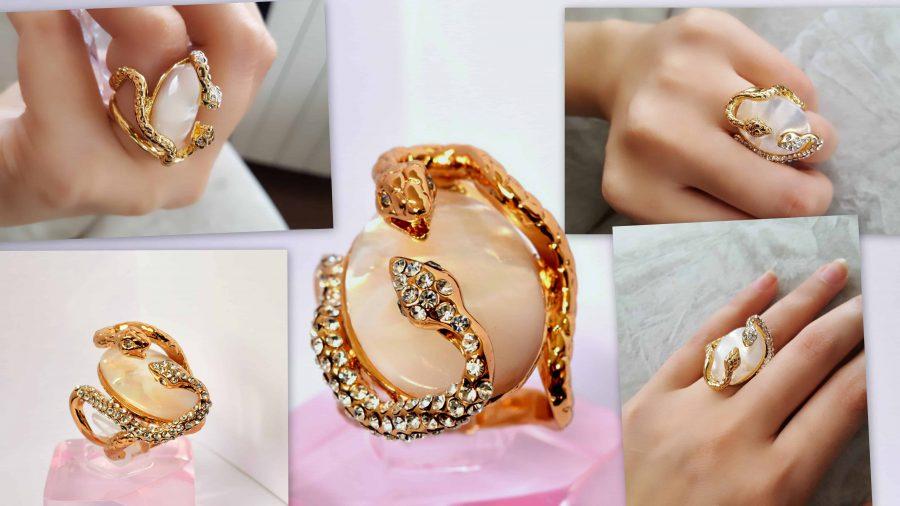 انگشتر زنانه و دخترانه طلایی طرح مار کلیو با کریستال های سواروسکی rg-n023 کلیج