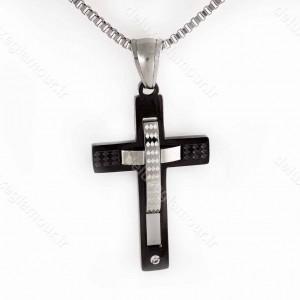 خرید گردنبند مردانه استیل طرح صلیب با زنجیر آجری 23 سانتی nw-n147 از نمای روبرو
