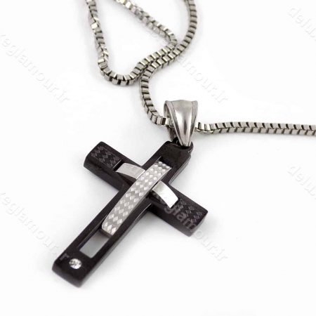 خرید گردنبند مردانه استیل طرح صلیب با زنجیر آجری 23 سانتی nw-n147 از نمای کنار