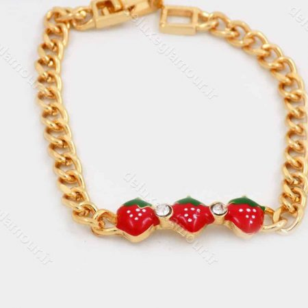 دستبند بچه گانه استیل با طرح توت فرنگی و طول 15 سانتی  و قفل جعبه ای ds-n187
