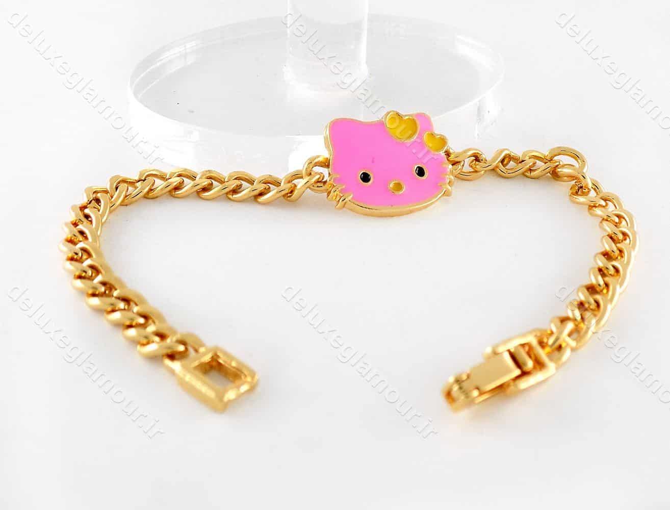 دستبند بچه گانه استیل طرح کیتی با طول 18 سانتی ds-n192